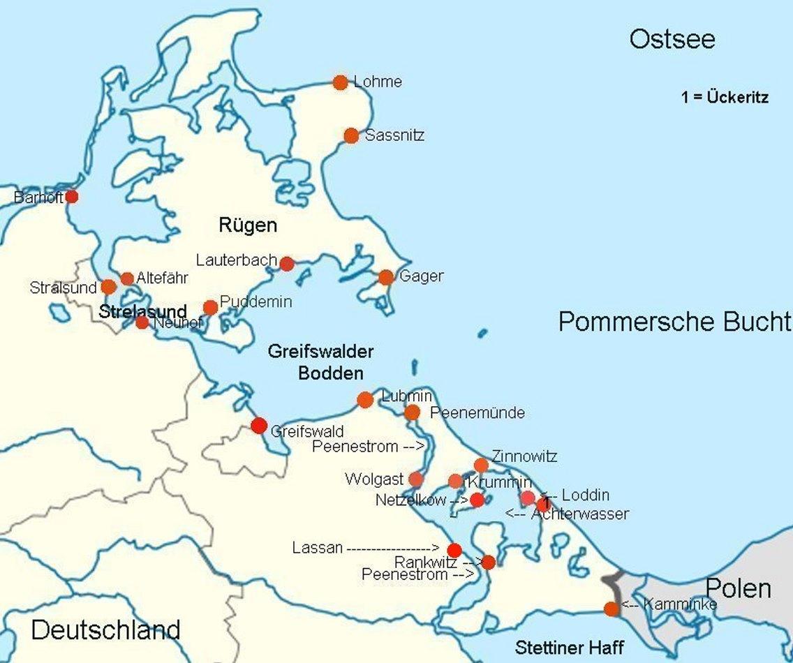 Ostsee Bodden Karte | Weltkarte Länder - Karte Deutschland Ostsee