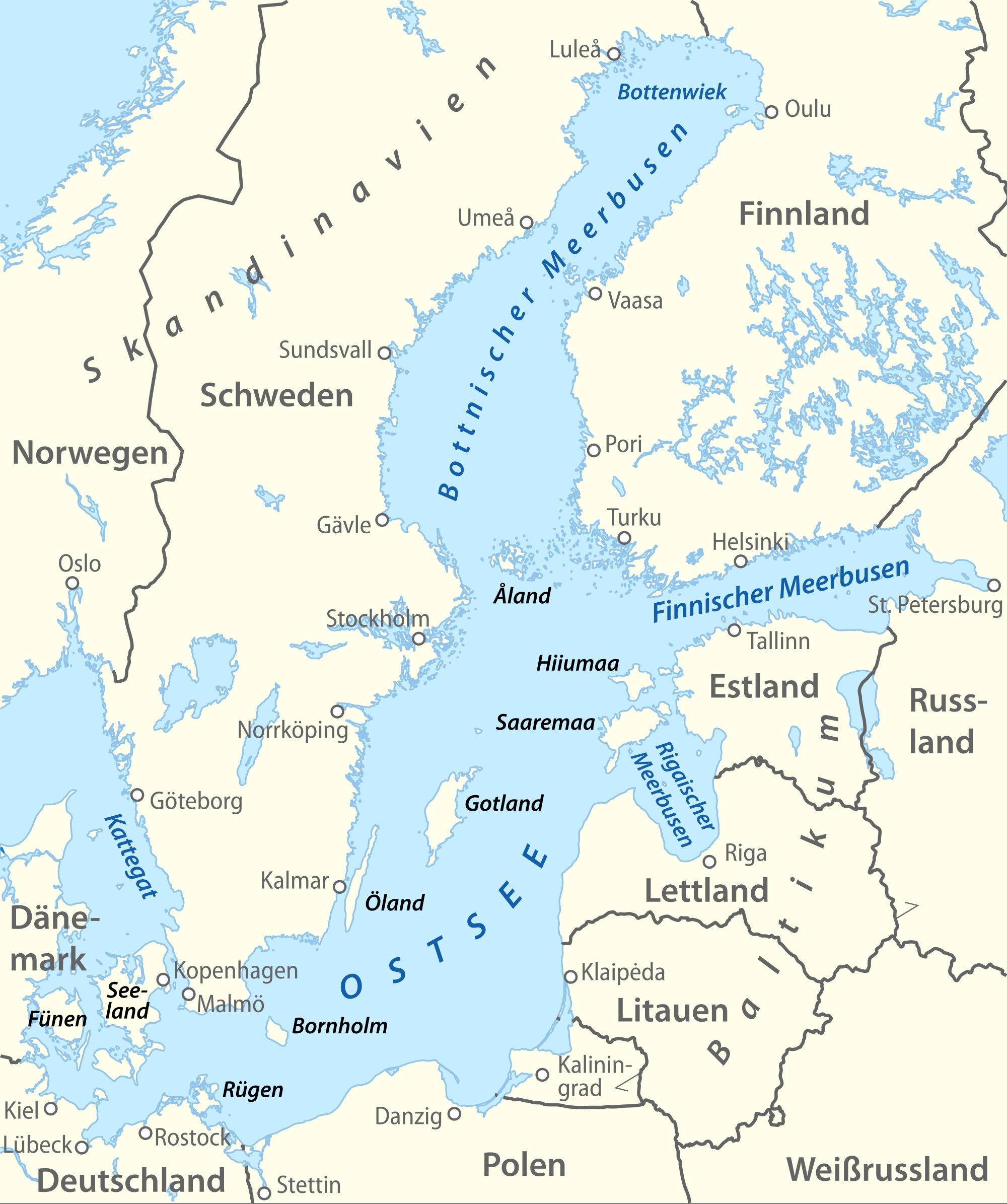 Revierinformation für Segler: Die Ostsee, Übersicht und Einteilung ... - Karte Deutschland Ostsee